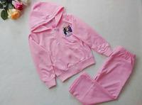 Children's Frozen Clothing Set 2014 New Autumn Long Sleeve Boys and Girls Ice Romance Portrait Printing Kits 5Sets/lot Free Ship
