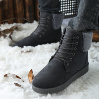 The new men's warm snow boots Korean version of casual men's cotton shoes in tube