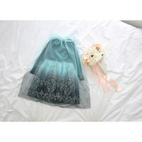2014 New Girls Korean Style Long-sleeved Frozen Princess Elsa Dress Embroidered Gauze Girl Dress 5pcs/Lot Fast Free Shipping