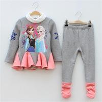 Factory Wholesale Frozen Autumn Set For girls Winter Snow Suits Romance Korean Winter Warm Bel Wholesale Children's Clothing Set