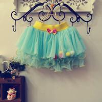2014 summer new Korean girls bow lace veil tutu skirt SpecialsLace TUTU Skrits 4pcs/lot Free Shipping