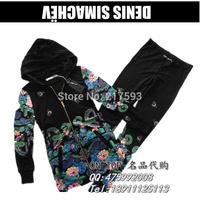 Mini Gum Free Shipping Russia Style DENIS New Women's 2 Piece Sport Suit Print Sweatshirt Set Women Hoodie tracksuit sportwear