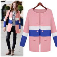 Free Shipping New 2014 fashion contrast color patchwork long women autumn/spring cardigan sweater  3556