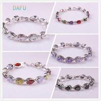 Platinum plated AAA zircon Teardrop bracelet Top Quality free shipping