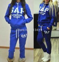Mini Gum  New 2014 fashion 2 piece women AP london 1869 letter print pullovers sport tracksuit sportwear hoody Sweatshirt suit