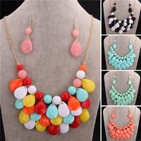 New Fashion Jewelry Brand Luxury Bohemia Jewellery  Women Big Dress Prom Party  Bib Statement Necklace Earrings Set VFS124