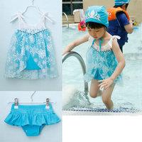Summer Girls Swimwear 3Pcs Swimsuit Snow Romance Frozen Elsa Kids Girl Swimwears 5sets/Lot Fast Free Shipping