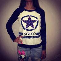 Mini Gum Free Shipping  New 2014 women fashion circle star sc co print long sleeve pullover hoody sweatshirt s m l