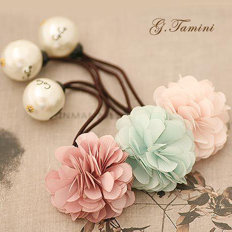 Romance Cherry Blossom with Big Pearl Elastics Hair Band Silk Flower Hair Tie with Pearl Sakura Hair Accessories(China (Mainland))