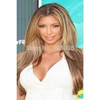 Kim kardashian medium brown highlight blonde two tone lace front human hair wig