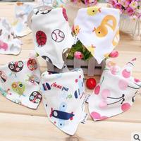 10 piece wholesale organic cotton double layer thickening 100% cotton triangular scarf/saliva scarf/baby burp cloths