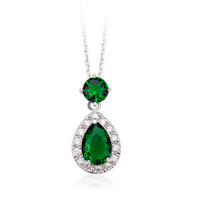 Wholesale Fashion Jewelry Cubic Zirconia Water Drop Pendant Necklace for women