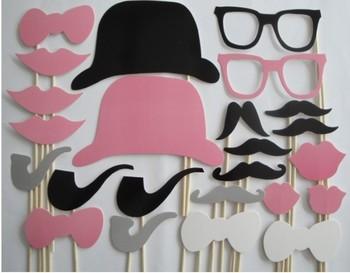 Photo booth props-24pcs усы на палочке для свадьбы день рождения рождество ну вечеринку