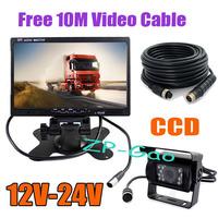 "12V-24V 18 LED 4Pin CCD Car Reversing Camera with 10m cable + 7"" LCD Monitor Car Rear View Kit 10pcs/lot"