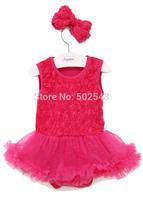 Infant Rose TUTU Modeling Romper + Headdress Children Baby Skirt Style Triangle Rompers Kids Clothing Free Shipping 3 PCS