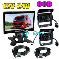 "4Pin 7"" LCD Monitor Bus Truck Rear View Kit + 2x CCD 18 IR Car Reverse Camera Waterproof 12V-24V Free Shipping"
