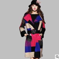 2014 European style new winter plaid wool coat woolen coat jacket wool coat female Autumn S-XL