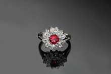 ROM Round Red Ruby Ring Luxury Princess Simulated Diamond Ring Lovers Artificial Wedding Ring For Female