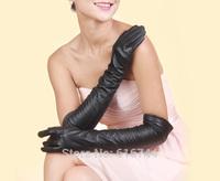 New Fashion Women's Smart Touch Screen 50cm Long Opera Gloves Genuine Lambskin Leather Black S M L