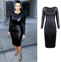 NEW 2014 Plus Size Women Long Sleeve Leather Look Bodycon Dress Sexy Club Dress Autumn Fall Winter Office Casual Dress Vestidos