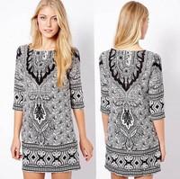 Women Autumn European and American Style Restoring Ancient Fashion Dress Print Paisley Pattern Totem Half Sleeve Vestidos 12048