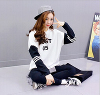 2014 Autumn sweater wild female college wind spell color printing letter heads shirt cuff women