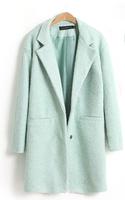 Autumn Winter Women Casual Tops Outerwear 2014 New Arrival Fashion Mint Green Lapel Double Pocket Longline Wool Coat