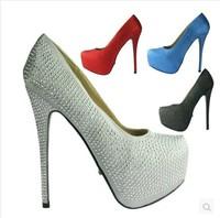 2014 New Arrived Women's Fashion Party Dress Pumps 16CM Ultra High Heels  Shoes  Luxury Rhinestone Inside Platform Wedding Pumps