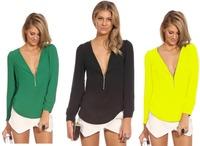 Women Fall Clothing Fashion 2014 Female Solid Elegant Classic Office Work  V Neck Long Sleeve Zipper Top Blouse