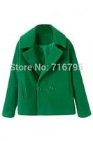 2014 Winter & Autumn Stylish Women Long Sleeves Solid Woolen Pea Coat