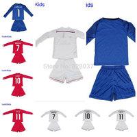 New Fashion Youth Kids Real CHICHARITO Bale James Kroos Ronaldo Soccer 2014-2015 White Pink Blue Long Sleeve Uniforms Jerseys