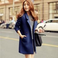Casacos femininos New 2014 Women Coat Winter Blue Slim Wool Coat Long Brand Desigual Woolen Coat Female Overcoat