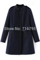 2014 Winter & Autumn Women Stand Collar Long Sleeves Navy Wololen Wrap Coat