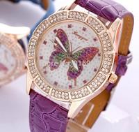 500pcs/lot  2014 Colorful butterflies diamond luxurious and elegant ladies quartz watches