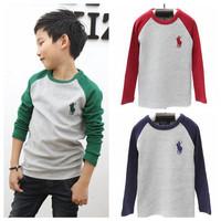 2014 children spring autumn long sleeve t shirt boys and girls fashion kids tops tees 5pcs/lot