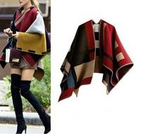 SUPER QUALITY Womens Wool Blend Plaids Blanket Cloak knitting Cape Outwear Coat Wool Made Of Blend Acrylic