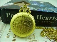 Free Shipping Golden Pandora Hearts Pocket Watch Cosplay + box