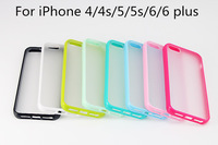 10pcs Sweet Candy case for iPhone 4/4s/5/5s/6/6 plus, Candy TPU+Semi Transparent / Clear PC back cover case 10 colors