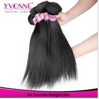 3Pcs/lot Straight Peruvian Virgin Hair,Grade 6A Unprocessed Hair Weave,100% Natural Human Hair,Aliexpress Yvonne Hair,Color 1B