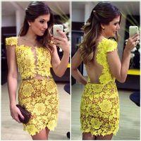 ellow big flower lace mini backless dress prom vestidos