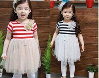 Clearance girls dress 2014 New Summer baby Girls Yarn Dress children Flower Princess dress sale kid's dress C068 Free Shipping