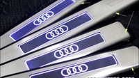 For Audi A4L 2010 , custom design door sill with blue cold light, for audi A4L aftermarket scuff plates 4 pcs per set