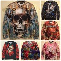 2014 Winter New Fashion Unisex Clothes Skull Rose Flower Pattern 3D Printed Sweatshirt Woman Casual Hoodies Man Sport Hoody Tops