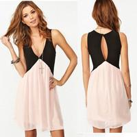 Summer Women's Dress Fashion Sexy Constrast Color Deep V-neck Splice Hollow Sleeveless Chiffon Vest Pink Vestidos Y385
