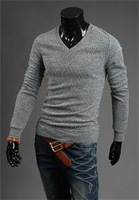 2014 New Arrival Designer Men's V-neck Long Sleeve Knit Pullover Sweaters High Quality personalized Sexy Slim Fit Men Sweaters