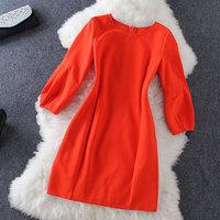 2014 new High quality Round neck lantern sleeve dress
