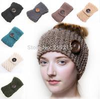 New handmade Solid Big Buttons Women Knitted Headwrap Knitting crochet headbands ear warmers for Girls Teens 10 pcs/lot