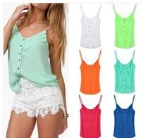 new women fashion blouse candy color lady shirts Sexy chiffon Blouse Spagetti Strap Vest Tops plus size S-XXXL