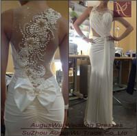 WWL020 New Arrival Sexy Mermaid Scoop Beading Chiffon Tulle Long White Mermaid Wedding Dress 2014