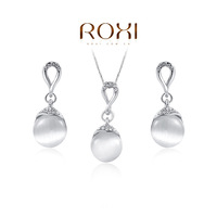 2014 ROXI classic simplicity opal jewelry set crystal necklace and earrings for women rose gold and white gold plated